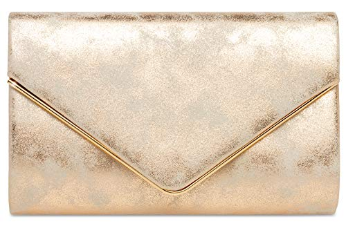CASPAR TA349 Damen elegante Envelope Clutch Tasche