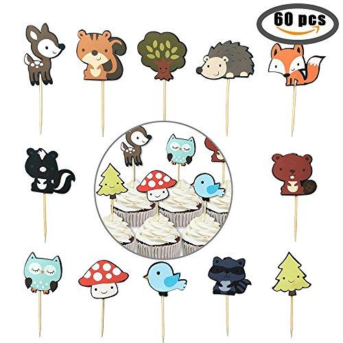 60-pack Cute Zoo Tier- und Woodland Creatures Cupcake Topper Plektrum Plektron Picks, Jungle Tiere Kuchen Topper Für Kinder Baby Dusche Geburtstag Party Kuchen Dekoration Supplies
