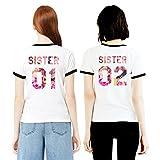 Best Friends T-Shirts für 2 Mädchen Sister Aufdruck – Sommer Oberteile Set für Zwei Damen Freunde Freundin BFF Geburtstagsgeschenk (Schwarz Ringer, Sister 01-S + Sister 02-M)