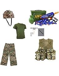 Kinder Pack W Hose, T-Shirt, Assault Weste, Helm, Munition Set & Freie Kontakt links Kinder Army/Military ID Card.–MTP