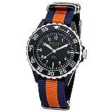 Regent Kinder Jugend-Armbanduhr Elegant Analog Textil Stoff-Armband blau orange Quarz-Uhr Ziffernblatt schwarz URF1125