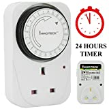 24 Hour Mechanical Timer UK Mains Wall Plug In Interval Clock Socket Switch Home Security Energy Saving 13A 3 Pin Programmable - 1 Pack