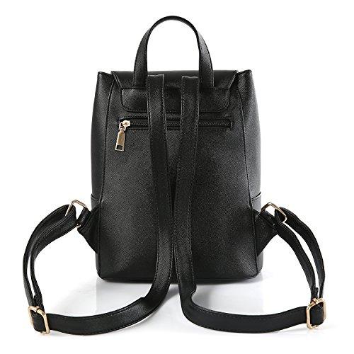 BYD - PU pelle Donna Female Borse a tracolla Backpack Borsa a Spalla Fashion Travel Bag Office Bag Shoulder Bag Designer Borse Nero