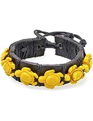 PAPAYANA Hippes Leder-Armband besetzt mit gelben Steinen in Schildkröten-Form