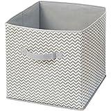 InterDesign Chevron - Almacenamiento blando cubo, color gris topo y natural