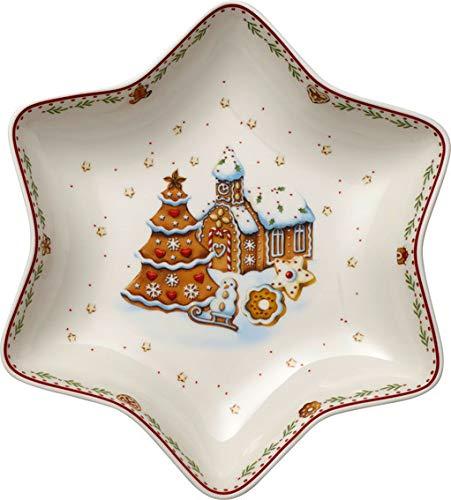 Villeroy & Boch Winter Bakery Delight Sternschale mittel, Lebkuchendorf, Schale für Plätzchen, Premium Porzellan, rot, bunt, 24,5 cm