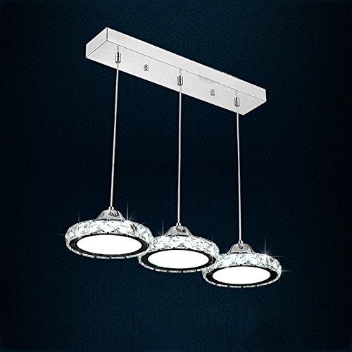 LED-Kristall-Edelstahl-Restaurant-hängende Lampe 3heads modernes einfaches rundes Wohnzimmer Esszimmer-Stab-Kronleuchter-warme / weiße helle energiesparende Deckenleuchte ( design : B )