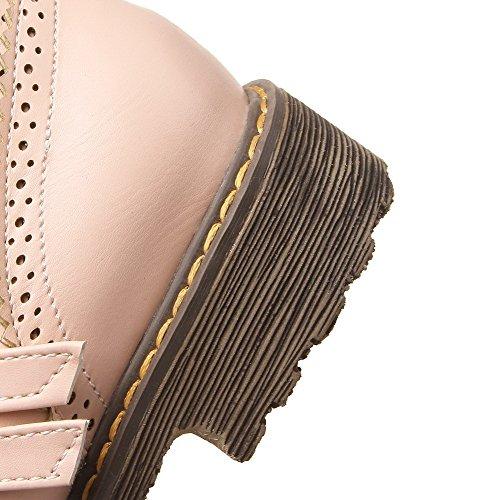 VogueZone009 Femme Boucle Rond à Talon Bas Pu Cuir Couleur Unie Chaussures Légeres Rose