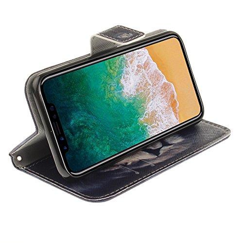 CLM-Tech Custodia Pelle Sintetica per Apple iPhone X Flip Case con funzione supporto Acchiappa Sogni rosa grigio Leone