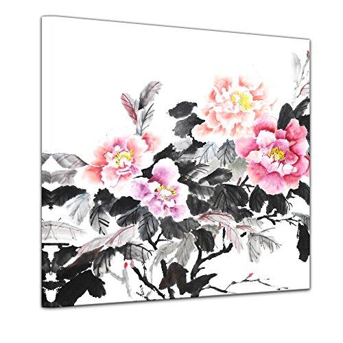 Kunstdruck - Aquarell - Chinesische Blume II - Bild auf Leinwand 40 x 40 cm einteilig -...