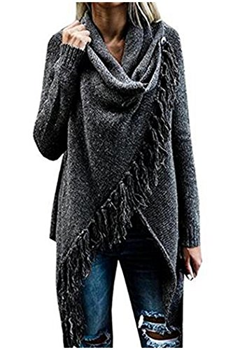 Asymmetrischer Poncho (Beaii Damen Langarm Quaste Loose Strickjacke Asymmetrisch Poncho Cape Jumper Pullover Sweater Outwear)