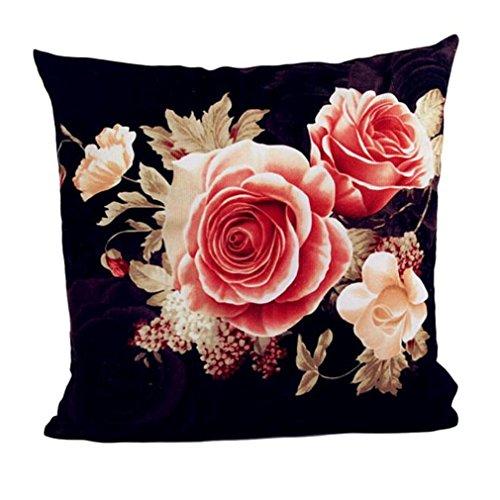 ★♣Irona Cuscino cuscino di base della decorazione della casa di stampa tintura Peony Divano (nero)