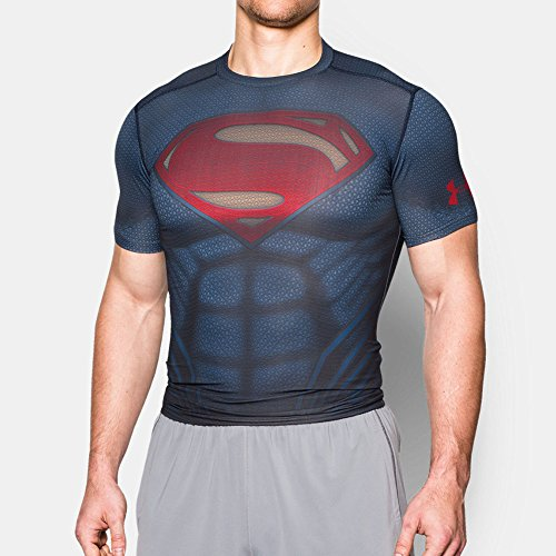 Under Armour T-Shirt Superman Suit Ss marine/rot S (SM) (Under Marine Armour)