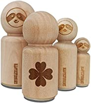 Four Leaf Clover Lucky Solid Rubber Stamp for Stamping Crafting Planners - 3/4 Inch Small