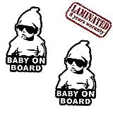 Skino 2 Stück Vinyl Aufkleber Autoaufkleber Stickers Baby on Board Kind Mit Sonnenbrille Sicherheit Auto Moto Motorrad Fahrrad Fenster Tür Tuning B 167