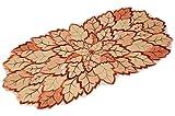 Tischdecke Vanille Blatt Blätter Terrakotta Gestickt Tischdekoration Herbst Blätterdeckchen Läufer (Tischläufer 30x70 cm)