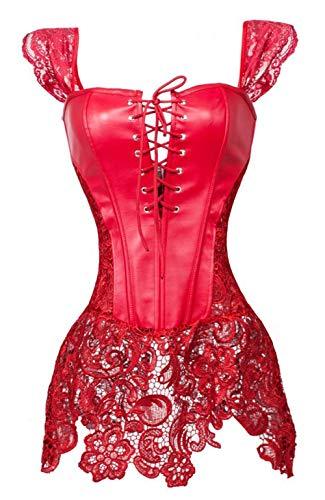 Grebrafan Leder Corsage Korsagenkleid Spitze Design Kurvenreiche Figur Shape Corset Große Größen (EUR(34-36) M, rot) - Body Lace Trim