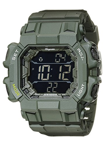 Burgmeister Men's Quartz Watch with Multicolour Dial Digital Display and Green Plastic Bracelet BM804-020