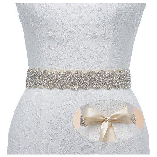 SWEETV Handgemachter Gürtel Funkelnde Strassbrautgürtel Hochzeit Schärpe für Damen, Champagner