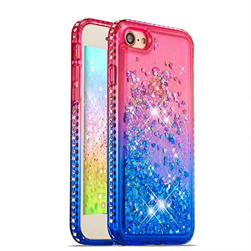 HMTECH iPhone SE/iPhone 5 5S Hülle Glitzer Gradient Rosa Blau Herz Flüssigkeit Fließende Liquid Weiche Silikon Durchsichtige Schale Bumper Etui für iPhone SE,Pink Blue Liquid