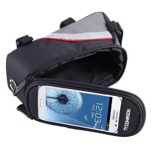 Eleoption Fahrradtasche Rahmentasche Fahrradrahmen Handytasche mit klarem PVC-Bildschirm,4,2 Zoll & 4,8 Zoll & 5,5 Zoll verfügbar Rot