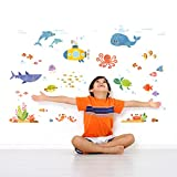 Decowall DAT-1611 Sea Adventure Kids Wall Stickers Wall Decals Peel and Stick Removable Wall Stickers for Kids Nursery Bedroom Living Room