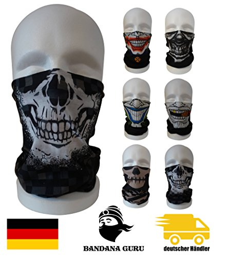 Bandana Guru Motorrad Joker Maske Schlauchtuch Totenkopf Maske - für Paintball / Fahrrad / Ski Snowboard / Wandern/ Biking / Rave Clown Maske (Skull-Face-Military)