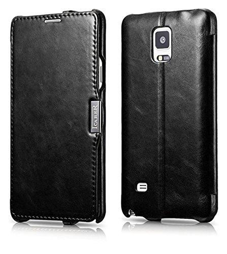ICARER Tasche für Samsung Galaxy Note 4 / SM-N910 / Case mit Echt-Leder Außenseite/Schutz-Hülle aufklappbar/Ultra-Slim Cover/Etui im Vintage Look/Schwarz - Samsung Note Holster Für 3