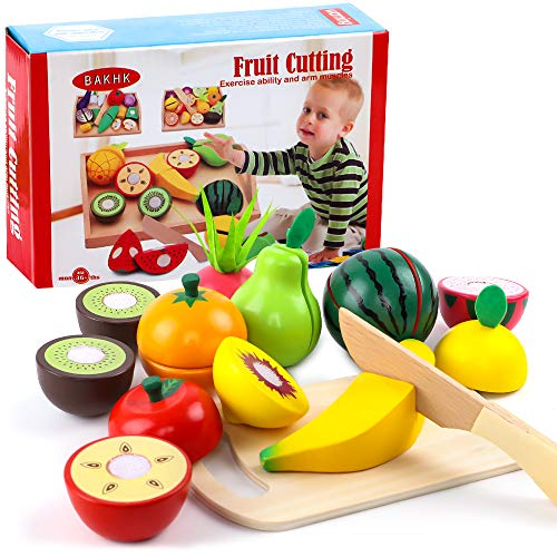 BAKHK Küchenspielzeug Holz für Kinder Obst Spielzeug, 20-TLG., Lebensmittel Schneiden mit Klett-Verbindung