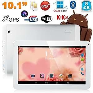 Tablette tactile 10 pouces 3G Double SIM Quad Core WiFi GPS 16Go Blanc