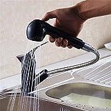 FHLYCF cuisine robinet tout noir rétro pompage rotatif cuivre bassin bassin télescopique robinet, quartz ceinture robinet, chaud et froid double sortie de l'eau
