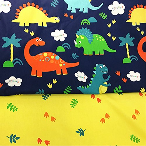 Fuya 160cm * 100cm * 2pieces dinosaurios hojas algodón tela PATCHWORK gamuza...