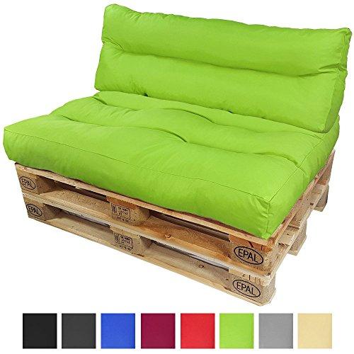 PROHEIM Palettenkissen-Set Lounge: Sitzkissen + Langes Rückenkissen Sitzpolster für Europaletten Paletten-Sofa Wasser- und Schmutzabweisend Palettenauflage mit Wave-Steppung, Farbe:Grün