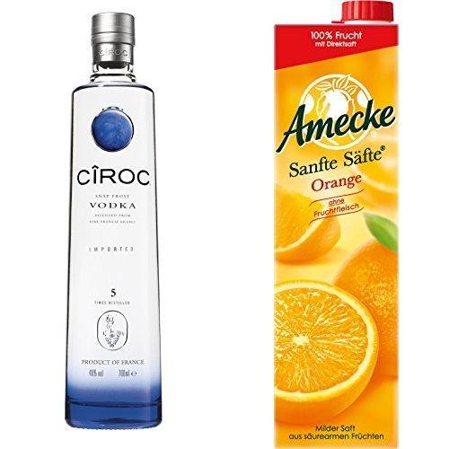 Ciroc Ultra Premium Vodka (1 x 0.7 l) mit Amecke Sanfte Säfte Orange, 6er Pack (6 x 1 l)