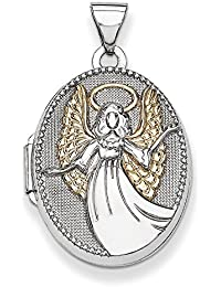 Sterling Silver With Gold-Flashed21mm Oval Guardian Angel Locket