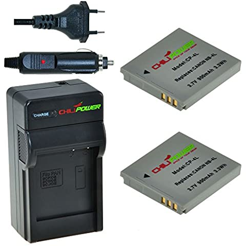 2x Batería + Cargador ChiliPower Canon NB-4L 900mAh para Canon Digital IXUS 30, 40, 50, 55, 60, 65, 70, 75, 80 IS, i7, Powershot SD30, SD40, SD200, SD300, SD400, SD430, SD450, SD600, SD630, SD750, SD780 IS, SD940 IS, SD960 IS, SD970 IS, SD1000, SD1100 IS, SD1100 IS, SD1400 IS, TX1, ELPH 100 HS, 300 HS, 310 HS, 330 HS, VIXIA