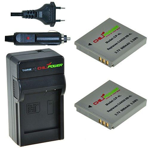 ChiliPower Canon NB-4L Kit: 2x Batteria (900mAh) + Caricabatteria per Canon Digital IXUS 30, 40, 50, 55, 60, 65, 70, 75, 80 IS, i7, Powershot SD30, SD40, SD200, SD300, SD400, SD430, SD450, SD600, SD630, SD750, SD780 IS, SD940 IS, SD960 IS, SD970 IS, SD1000, SD1100 IS, SD1100 IS, SD1400 IS, TX1, ELPH 100 HS, 300 HS, 310 HS, 330 HS, VIXIA