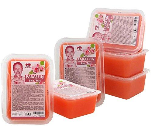 Kosmetex Paraffinbad Rosa Rose, Paraffin-wachs mit niedrigeren Schmelzpunkt, Pfirsich Duft, 6x 500ml Rosa