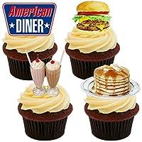 Made4You Decoración comestible para tartas, diseño de cena americana, oblea de pie para cupcakes, 12 unidades