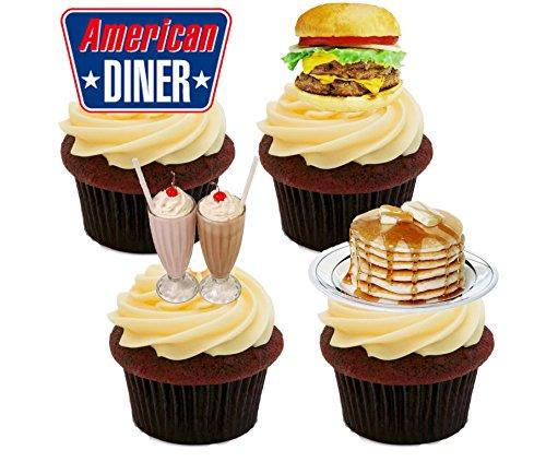 hendekoration, Motiv: American Diner, Cupcake-Topper, 12er-Pack ()