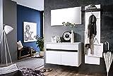 trendteam smart living Garderobe Garderobenkombination 3-teiliges Komplett Set Sol, 164 x 190 x 35 cm in Korpus Weiß, Front Weiß Hochglanz mit Wechselblende in Grau und Alteiche