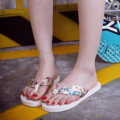 Hunpta Sommer Sandalen Slipper Indoor Outdoor Flip-flops Strand Damenschuhe Beige