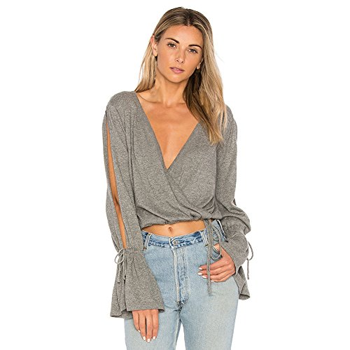 EFINNY Frauen V Neck Blouse Top Flare Long Sleeve Cut Out Shoulder Crop Tops Casual Loose Wrapped Tee Shirt (Für Sexy Tops Clubbing Crop)