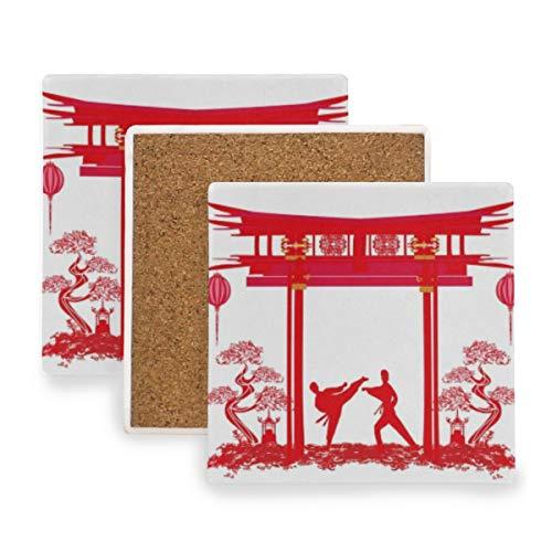 PANILUR Karate Berufe Abstraktion Menschen Aktiv Kimono Sport Erholung Athlet Gürtel Black Body Box,Untersetzer Saugfähige Keramik,für Tassen Tisch Bar Glas(1 Packs)