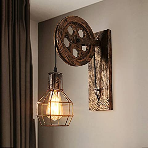 Lampe de mur en acier rétro industrielle Lampe de levage