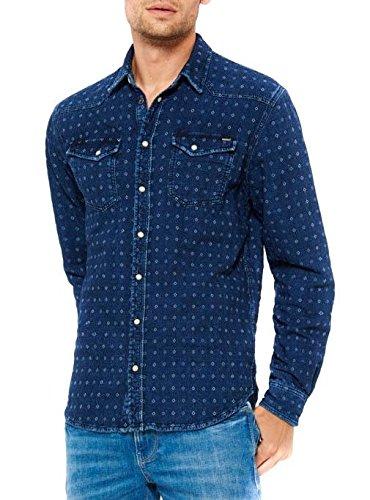 Pepe Jeans Jacques, Camicia Uomo, Blu (Denim), 40 (Taglia Produttore: Large)