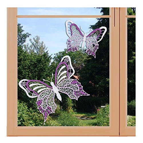 artex deko Set 2 Stück Fensterbilder Schmetterlinge lila violett Fensterdekoration mit Saugnapf Plauener Spitze