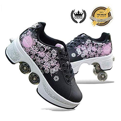 WERTYUH Skateschuhe Einstellbare Rollerblades Sport-Wanderschuhe 2-in-1-Mehrzweck Schuhe Unisex-Rollschuh Schuhe Für Erwachsene,Black-38
