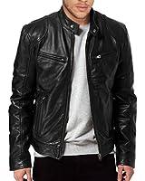 TLF The Leather Factory Men's SWORD Black Genuine Lambskin Leather Biker Jacket