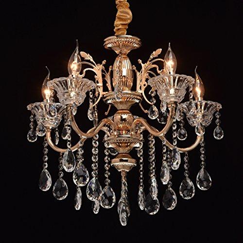 Lampadario da soffitto grazioso colore oro francese lucente pendenti in cristallo stile barocco tradizionale 5 bracci in soggiorno salone o camera da letto 5*40w e14 - escl